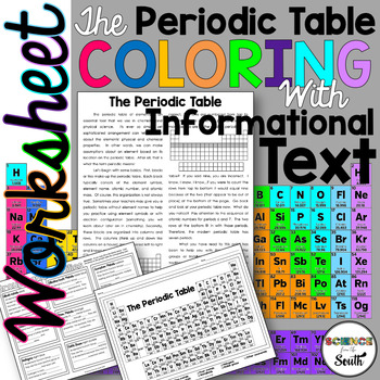 Periodic Table Coloring Worksheet for Review or Assessment