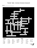 Periodic Table - Common Elements Crossword