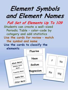 Periodic Table Element Cards - Set of Name Cards and Set of Symbol Cards