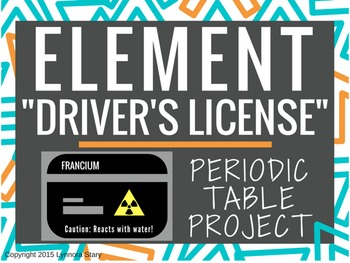 periodic table project element drivers license