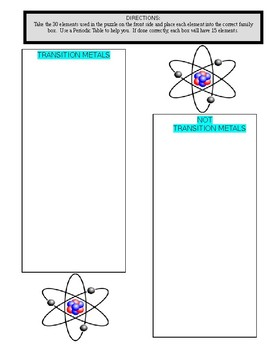 Periodic Table (Element Families #3 - 2 Puzzles and Sort with Answer Key)