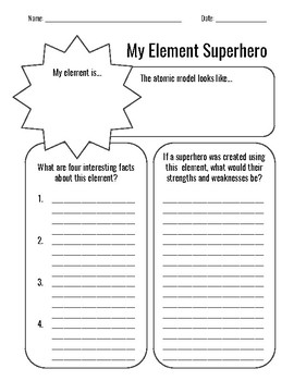 Periodic Table: Element Superhero Activity