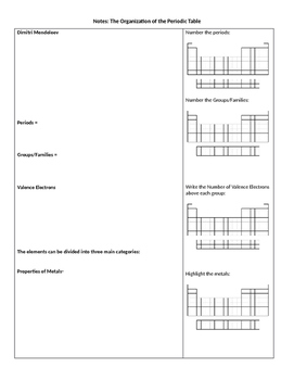 Periodic table guided notes by amiee savard teachers pay teachers periodic table guided notes urtaz Image collections