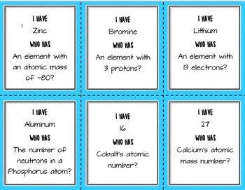 Periodic Table - I Have Who Has *GAME*