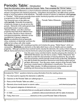 Periodic Table - Introduction Reading and Element Activity