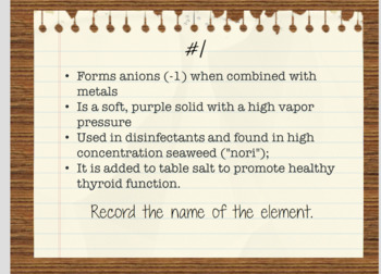 Periodic Table Investigation - Task Cards