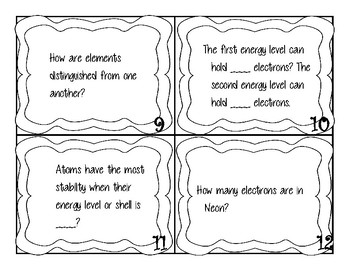 Periodic Table, Ions and Isotopes review cards