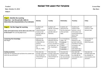 Structure of Matter & the Periodic Table Weekly Lesson Plans 2