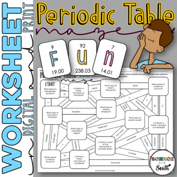 Periodic table maze worksheet for review or assessment tpt periodic table maze worksheet for review or assessment urtaz
