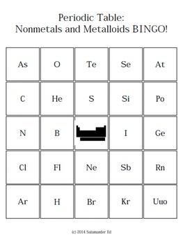 Periodic Table - Nonmetals and Metalloids - BINGO