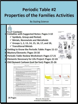 Periodic Table Properties of the Families Activities