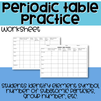 Periodic Table Practice