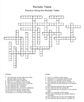 Periodic Table Practice Crossword