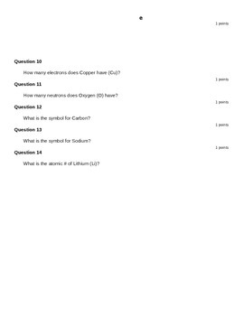 Periodic Table Quick Quiz