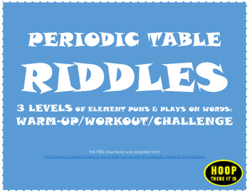 Periodic table riddles by hoop there it is teachers pay teachers periodic table riddles urtaz Choice Image