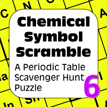 Periodic table of elements scavenger hunt puzzle chemical symbol periodic table of elements scavenger hunt puzzle chemical symbol scramble urtaz Choice Image