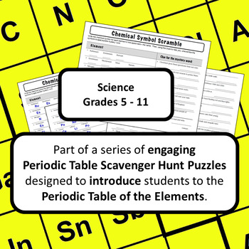 Periodic table of elements scavenger hunt puzzle chemical symbol periodic table of elements scavenger hunt puzzle chemical symbol scramble urtaz Images