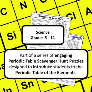 Periodic Table of Elements Scavenger Hunt Puzzle: Elements in Your Body