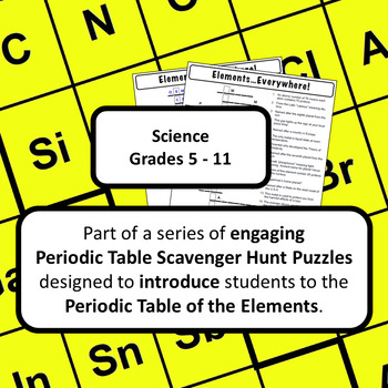 Periodic Table of the Elements Scavenger Hunt: Elements…Everywhere!