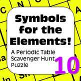 Periodic Table of Elements Scavenger Hunt Puzzle Symbols for the Elements.
