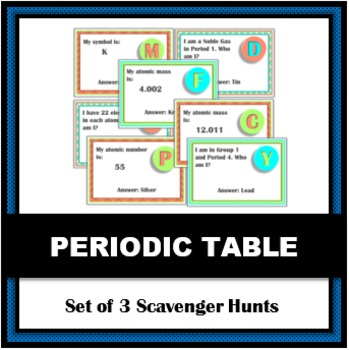 Periodic table scavenger hunt teaching resources teachers pay teachers periodic table scavenger hunts set of 3 a science activity urtaz Image collections