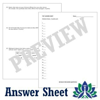 Periodic Table Test Assessment - Middle School NGSS MS-PS1-1