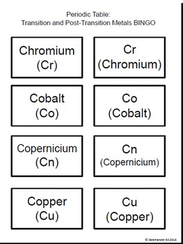Periodic Table - Transition metals and post-transition metals - BINGO