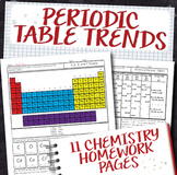 Periodic Table Trends Chemistry Homework Page Unit Bundle