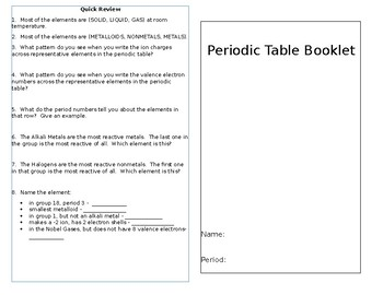 Periodic Table Trends Colorbook