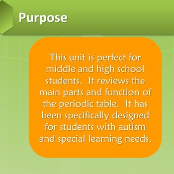 periodic table unit for special education - Periodic Table Autistic