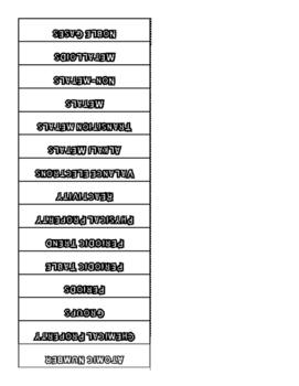 Periodic Table Vocab Foldable