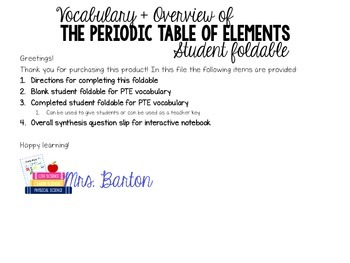 Periodic Table Vocabulary & Overview Foldable with Compreh