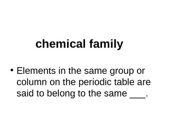 Periodic Table Vocabulary Powerpoint
