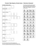 Periodic Table Word Game Sample Worksheet 2