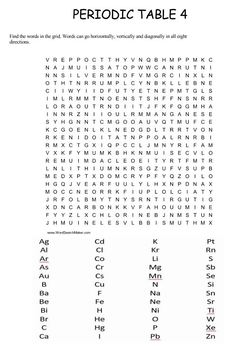 Periodic Table Word Search Puzzles