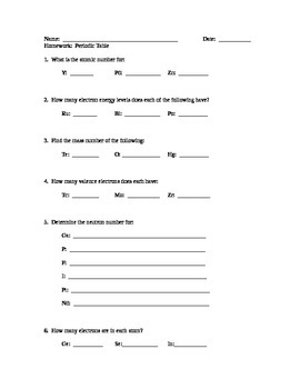 Periodic Table Worksheet