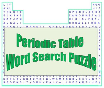 Periodic Table : a fun word search puzzle for HS Chemistry