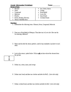 Periodic Table and Bonding Worksheet