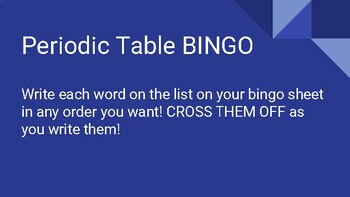 Periodic Table and Chemistry Bingo