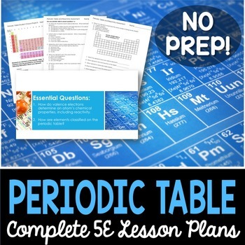 Periodic table and reactivity complete 5e lesson plan by kesler science periodic table and reactivity complete 5e lesson plan urtaz Choice Image