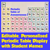 Periodic Table of Awesomeness Editable Bulletin Board with Student Names