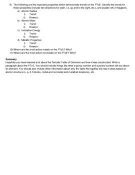 Periodic Table of Elements - A Geography Activity