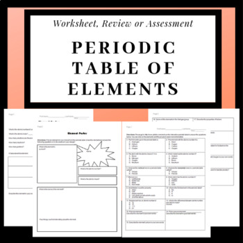 Periodic Table Of Elements Worksheets Atoms, Atomic Weight, Protons/Neutron
