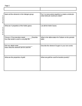 Periodic Table of Elements Worksheets-Atoms, Atomic Weight, Protons/Neutron