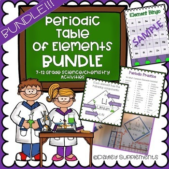 Periodic Table Of Elements Bundle Of Fun By Dayley Supplements Tpt