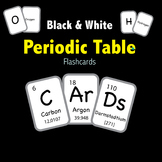 Periodic Table of Elements - Flashcards - Black & White