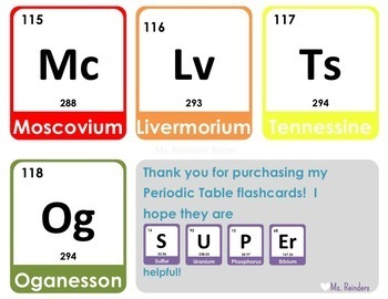Periodic Table Of Elements Flashcards Rainbow By Victoria Reinders