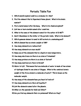 Periodic Table of Elements Fun w/ Answers, PTOE links but not incl. (Word & PDF)