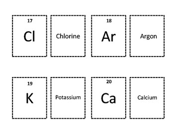 Periodic Table of Elements Part 1 Hydrogen-Calcium Worksheet, Matching Game