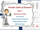 Periodic Table of Elements Part 1 Hydrogen-Calcium Workshe